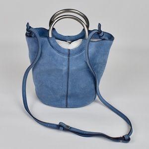 (J. CREW) Blue Suede Bracelet Bucket Bag